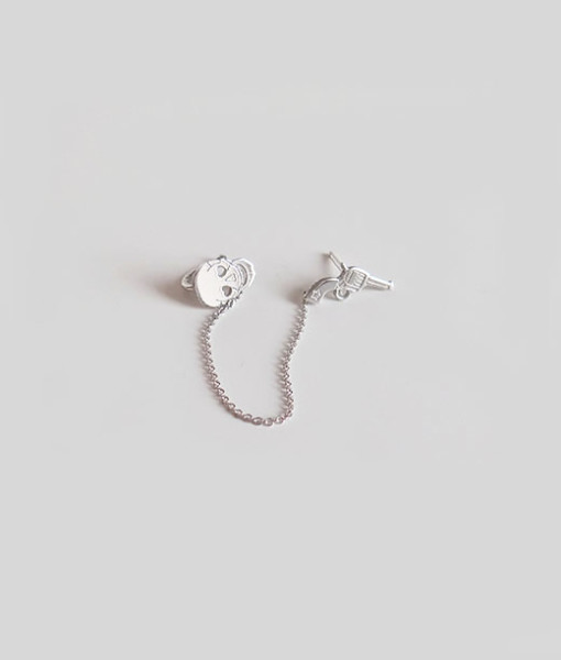 Ear cuff double gun&skull