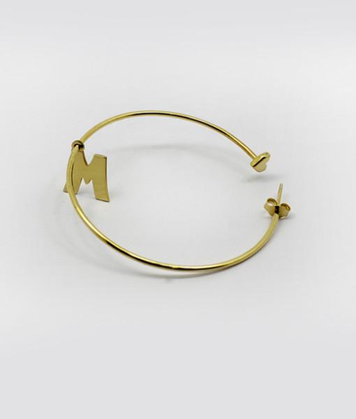 Hoop Earring Whit Letter   Rossella Catapano Jewelery Designer
