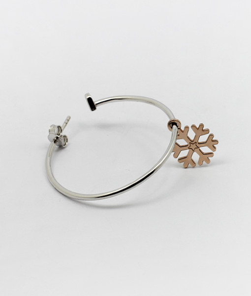 Big Hoop Earring With Sweet Snowflake | Rossella Catapano Jewelery Designer