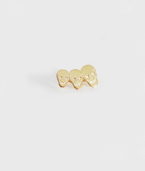 Ear cuff Three Cute Skull gold