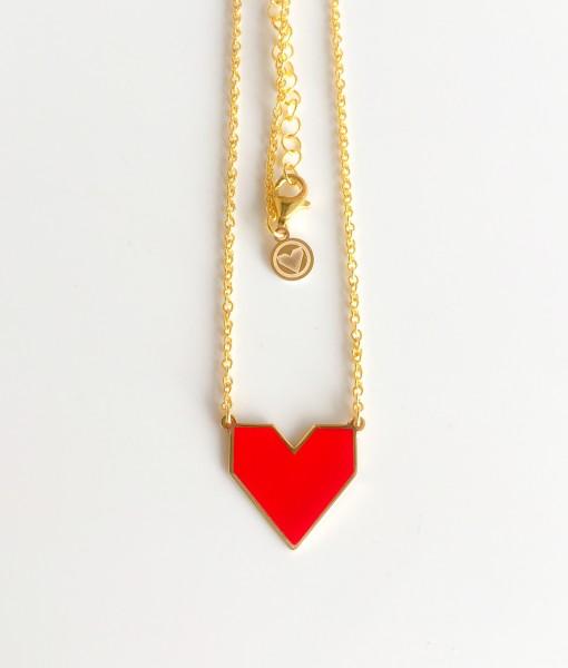 collana cuore smalto dorata