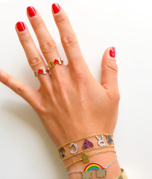 anelli i love u indossato