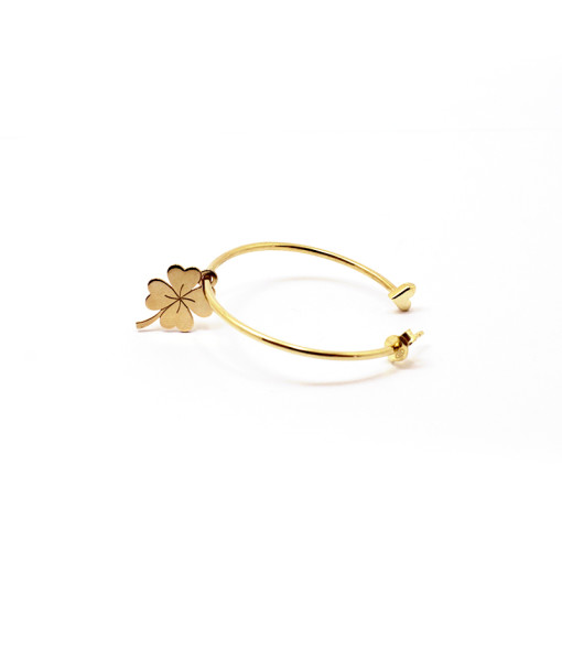 Big Hoop Earring Lucky Four Leaf | Rossella Catapano Jewelery Designer