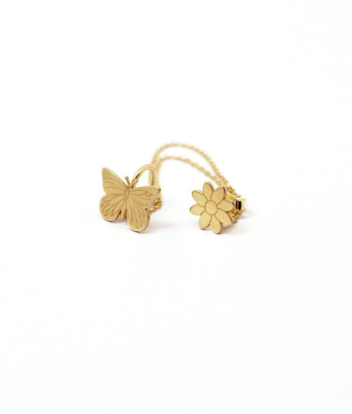Ear Cuff With Chain With Butterfly is Flying & Flowers in Guns | Rossella Catapano Jewelery Designer