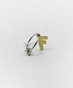 Hoop Earring Whit Letter | Rossella Catapano Jewelery Designer