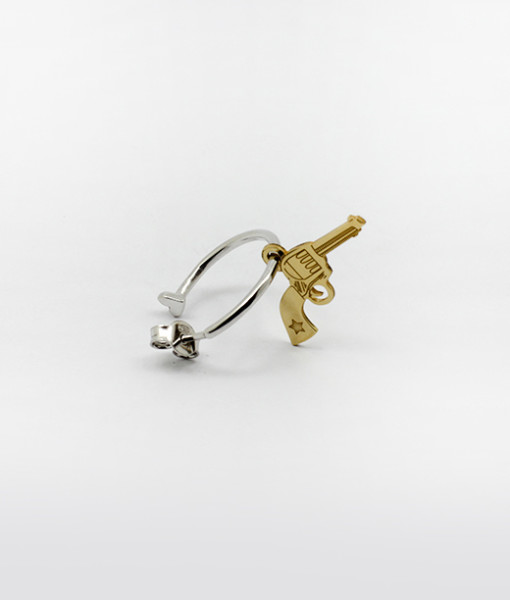 Hoop Earring With Wild Gun   Rossella Catapano Jewelery Designer