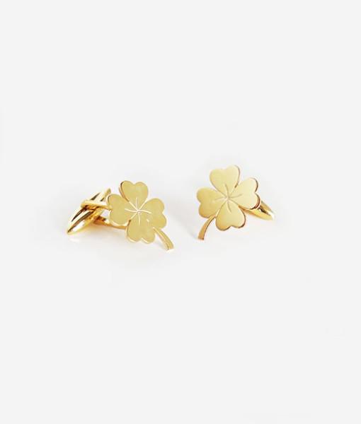Cufflinks lucky four leaf